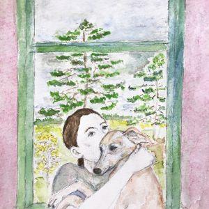Whippet Cuddles by Helen Wilson